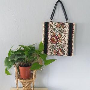 Floral boho needle point purse